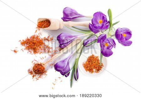 Crocus Flower With Saffron Isolated On White Background