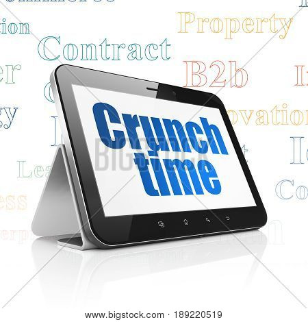 Business concept: Tablet Computer with  blue text Crunch Time on display,  Tag Cloud background, 3D rendering