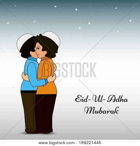 illustration of men with Eid Ul Adha Mubarak text