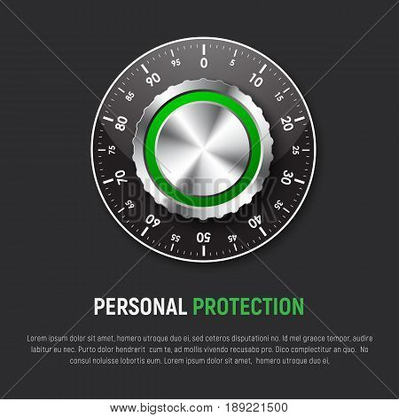 Template of black square banner with mechanical combination lock. Design for a web site protection of personal information clouds e-mail. Vector