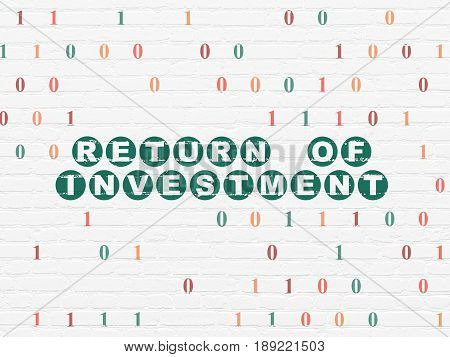Finance concept: Painted green text Return of Investment on White Brick wall background with Binary Code
