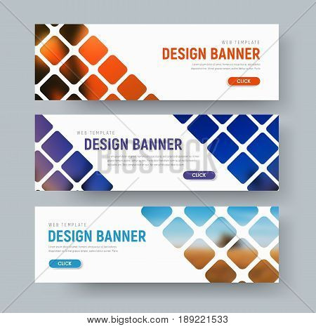 Design Of White Web Banners With Rhombuses For Photos.