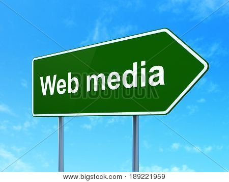 Web development concept: Web Media on green road highway sign, clear blue sky background, 3D rendering