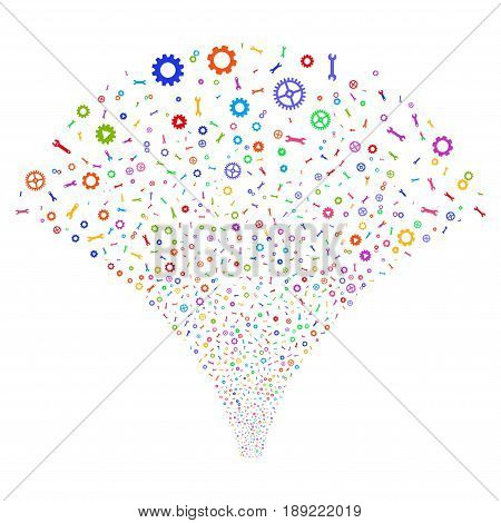 Setup Tools salute stream. Vector illustration style is flat bright multicolored iconic symbols on a white background. Object fireworks fountain organized from random pictographs.
