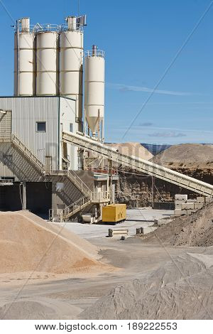 Aggregates plant factory. Gravel manufacturing. Quarry machinery. Spain. Vertical