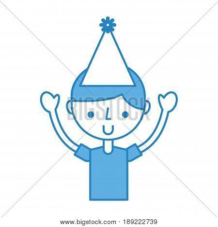 cute blue upper body party boy cartoon vector graphic design