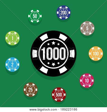 Set poker chips on poker table green color. Multicolored poker chips on background poker table. Vector illustration