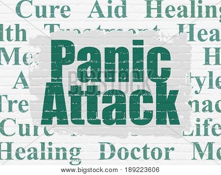 Health concept: Painted green text Panic Attack on White Brick wall background with  Tag Cloud
