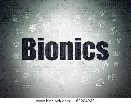 Science concept: Painted black text Bionics on Digital Data Paper background with  Hand Drawn Science Icons
