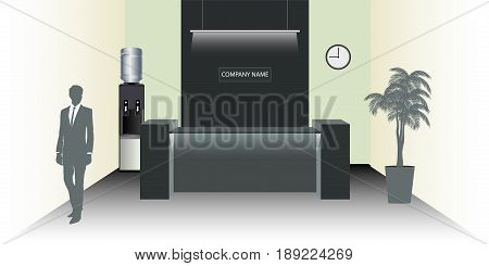 Visualization of the reception room. Office with workplace or business flowers and reception desk. Man outline. Water Cooler. Vector illustration in flat style