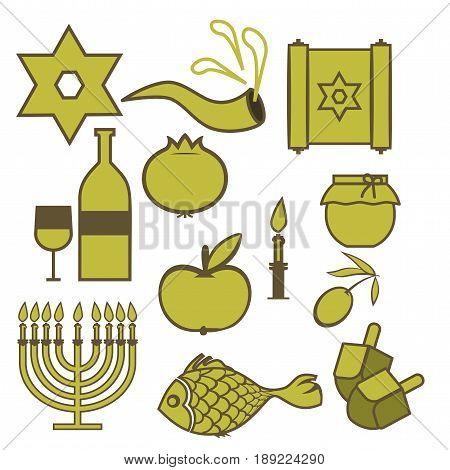 Set of traditional Hebrew symbols. Isolated symbols of Jewish holidays on a white background. Vector illustration