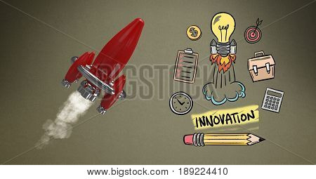 Digital composite of Digitally generated image of rocket flying by various icons against brown background