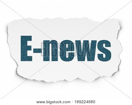 News concept: Painted blue text E-news on Torn Paper background with  Tag Cloud