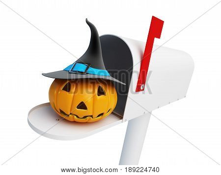 Pumpkin halloween in the mailbox on a white background 3D illustration
