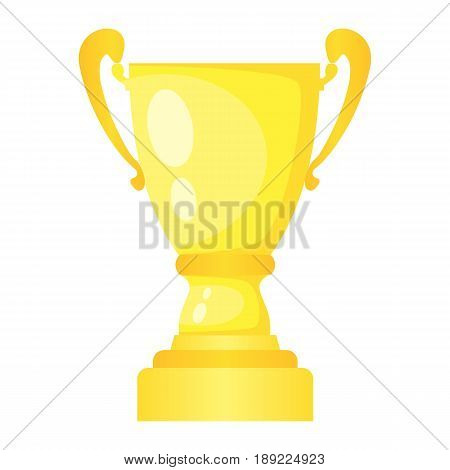 Vector golden trophy champion cup. Championship prize for first place. Victory symbol isolated on white background.