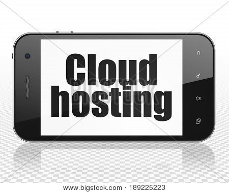 Cloud technology concept: Smartphone with black text Cloud Hosting on display, 3D rendering