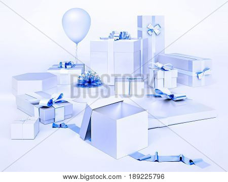 White boxes with gifts and blue bows balloon isolated on light blue background. 3D illustration