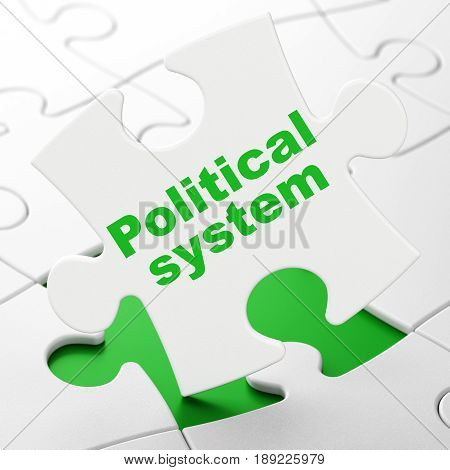 Political concept: Political System on White puzzle pieces background, 3D rendering