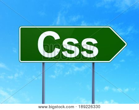 Software concept: Css on green road highway sign, clear blue sky background, 3D rendering