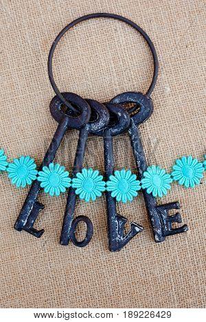 Keys of Love with daisy chain ribbon