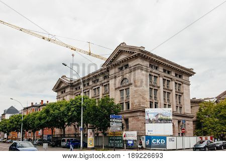 STRASBOURG FRANCE - MAY 18 2017: Reconstruction of the old Archive building to luxury apartments in French city of Strasbourg