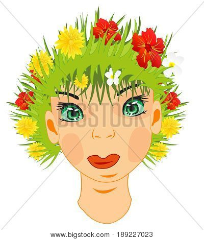 Person of the girl with herb and flower instead of hair