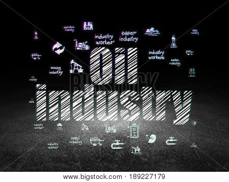 Industry concept: Glowing text Oil Industry,  Hand Drawn Industry Icons in grunge dark room with Dirty Floor, black background