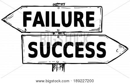 Vector cartoon doodle hand drawn crossroad wooden direction sign with two arrows pointing left and right as success or failure decision guide