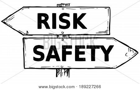Vector cartoon doodle hand drawn crossroad wooden direction sign with two arrows pointing left and right as risk or safety decision guide