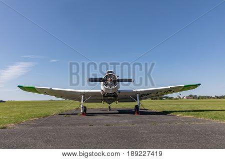 Zbraslavice Czech Republic - May 29 2017. Zlin Z-37 Cmelak - Czech agricultural aircraft park on the grassy airport in Zbraslavice CZE
