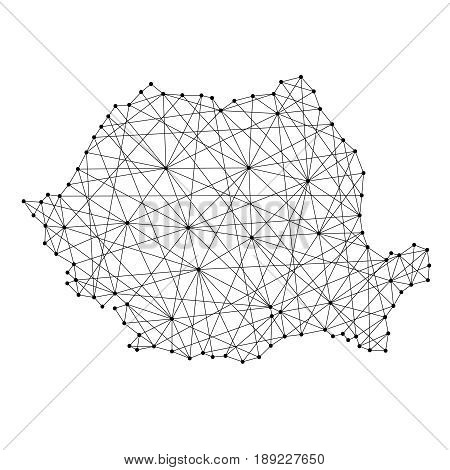Map of Romania from polygonal black lines and dots of vector illustration
