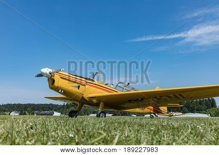 Zbraslavice Czech Republic - May 29 2017. Zlin Aircraft Z-226 -Czech agricultural aircraft is towed by a glider on a sunny day in Zbraslavice.
