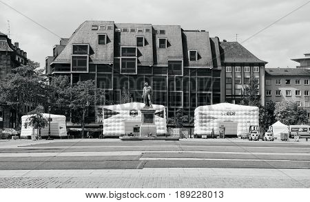 STRASBOURG FRANCE - MAY 18 2016: FFF Tour Federation Francaise de Footaball installation in city center for the upcoming UEFA football soccer Championship empty central square