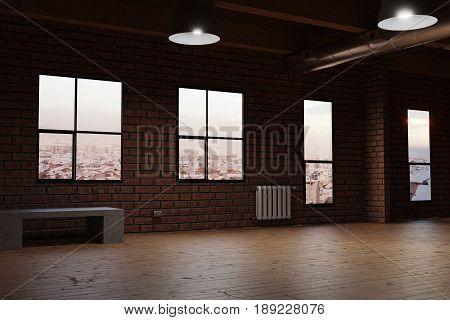 3d rendering of empty studio room with red bricks