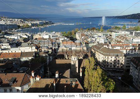 Geneva, Switzerland - 28 Oktober 2013: overview at the city of Geneva on Switzerland