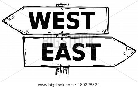 Vector cartoon doodle hand drawn crossroad wooden direction sign with two arrows pointing left and right as west or east decision guide