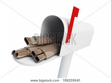 Delivery of car goods auto silencers by mail home Muffler on a white background 3D illustration