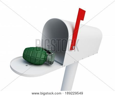 Grenade in the mailbox on a white background 3D illustration