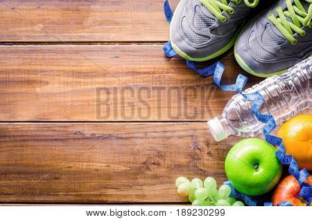 Fitness concept with Healthy food and exercise