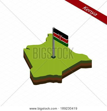 Kenya Isometric Map And Flag. Vector Illustration.