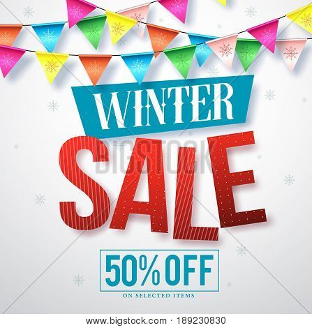 Winter sale vector banner design for promotions with hanging colorful streamers and snowflakes in white background. Vector illustration.