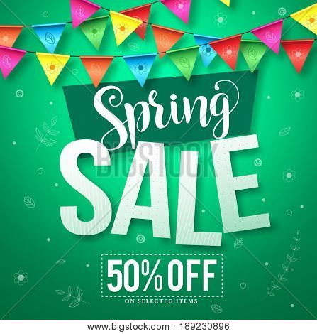 Spring sale vector design with hanging colorful streamers of flowers and leaves in green background for store seasonal promotion. Vector illustration.
