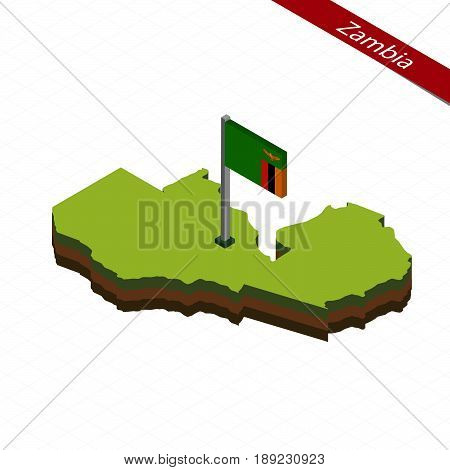 Zambia Isometric Map And Flag. Vector Illustration.
