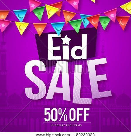 Eid sale vector design in purple background with mosque and hanging colorful streamers for celebration and store holiday promotions. Vector illustration.