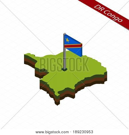 Democratic Republic Of The Congo Isometric Map And Flag. Vector Illustration.