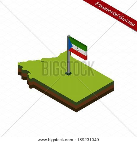 Equatorial Guinea Isometric Map And Flag. Vector Illustration.