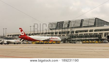 Stuttgart Germany - October 26 2016. A plane from Air Berlin at International airport of Stuttgart Manfred Rommel. It is the seventh airport in importance in Germany.
