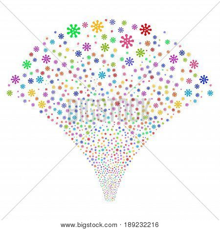 Virus salute stream. Vector illustration style is flat bright multicolored iconic symbols on a white background. Object source fountain created from random icons.