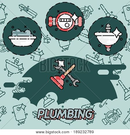 Plumbing concept icons. Plumber and wrench. Engineer character. Plumber repairing a pipe under a sink. Flat icon modern design style concept