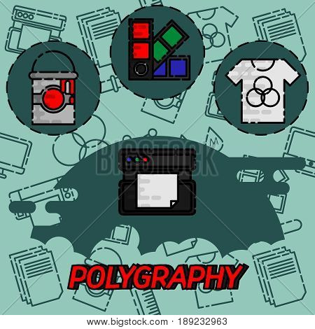 Polygraphy flat concept icons. Spectrum and gamma, technology equipment, ink and palette, vector illustration